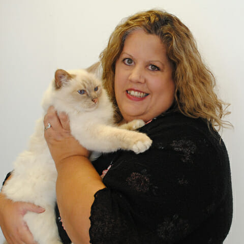 Sharon Day with her cat