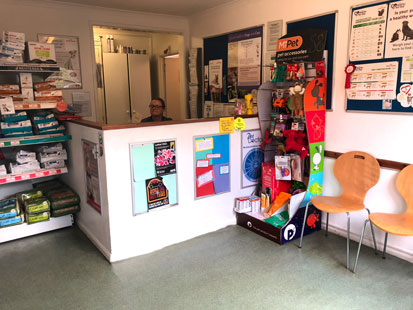 Pet Doctors Tongham reception area
